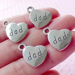 Love Dad Charms Heart Tag Charm (4pcs / 17mm x 15mm / Tibetan Silver / 2 Sided) Family Charm Word Charm Bracelet Jewelry for Father CHM1567