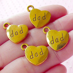 Dad Charms Father Charm (4pcs / 17mm x 15mm / Gold / 2 Sided) Message Charm Family Bracelet Keychain Fathers Day Gift Decoration CHM1570