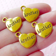 Sibling Charms Love BROTHER Charm (4pcs / 17mm x 15mm / Gold / 2 Sided) Heart Family Charm Word Tag Charm Keychain Bracelet Necklace CHM1572