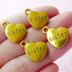 Love SISTER Charms Sibling Charm (4pcs / 17mm x 15mm / Gold / 2 Sided) Family Heart Charm Message Tag Charm Gift Packaging Bracelet CHM1573