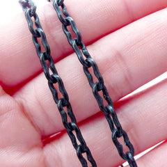 Black Plastic Chain in 4mm (38cm or 15 inches / 2 pcs) Punk Rock Men Jewelry Light Weight Necklace Bracelet Link Embellishment Decoden F252