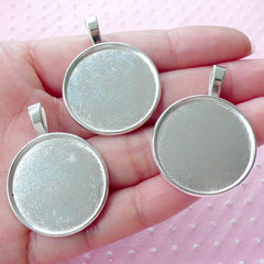 Bezel Pendant Tray / 25mm Round Cameo Setting / 25mm Cabochon Setting (10pcs / Silver) Collage Sheet Photo Memory Necklace Charm Blank F280