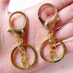 Split Key Ring with Lobster Clasp and Chain (30mm x 68mm / Gold / 4 sets) Keychain Key Holder Keyring Key Fob Making Charm Connectors F157