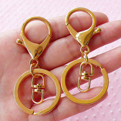 Key Chain Ring w/ Big Lobster Clasp & Swivel Ring (30mm x 68mm / Gold / 4 sets) Split Key Ring Key Holder Purse Handbag Charm Connector F257