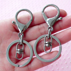 Silver Split Key Ring w/ Big Lobster Clasp & Swivel Ring (30mm x 68mm / 4 sets) Keychain Ring Key Fob Purse Charm Connector Lanyards F258