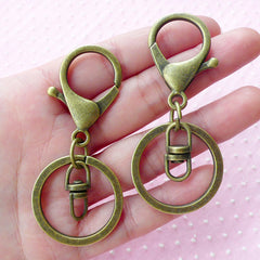 Keychain Ring w/ Big Lobster Clasp & Swivel Ring (30mm x 68mm / Antique Bronze / 4 sets) Trigger Hook Split Key Ring Charm Connector F259