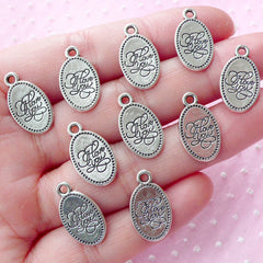 I Love You Charm Tag Charm (10pcs / 10mm x 18mm / Tibetan Silver) Message Charm Word Charm Wedding Favor Decoration Valentins Day CHM1589