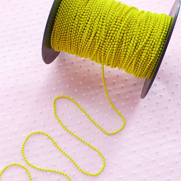 Bead Chain Link / 1.5mm Ball Chain / Metal Key Chain (2 Meters / Yellow) Colorful Necklace Chain Retro Keyring Key Holder Luggage Tag A042