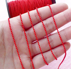 Color Ball Chain / 1.5mm Metal Key Chain / Necklace Chain / Bead Chain Link (2 Meters / Red) Key Ring Luggage Tag Charm Connector A035