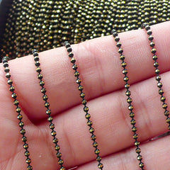 Black Faceted Ballchain / Bling Bling 1.5mm Bead Chain / Necklace Chain / Key Chain Link (2 Meters / Black & Gold) Luggage Tag DIY A048