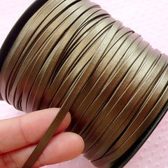 4mm Artificial Leather Cord / Synthetic Leather Strip / Faux Leather Strap / Fake Leather String (2 Meters / Brown) Necklace Bracelet A053