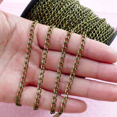 3.5mm Cable Chain in Antique Bronze (2 Meters / 6.4 Ft) Bracelet Link Necklace Chain Metal Twisted Chain Open Link Jewellery Supplies A054
