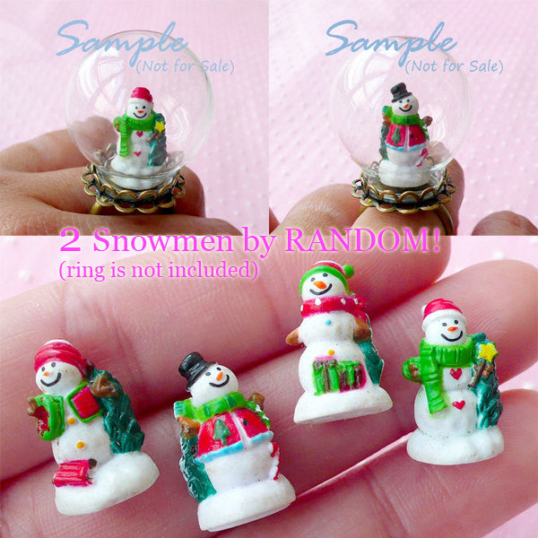 Miniature Snowman for Terrarium Dollhouse Crystal Ball Fairy Garden Glass Bottle Glass Globe Bubble Ring Pendant (2pcs by Random) CAB419