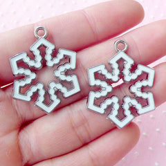 White Snowflakes Charms Snow Flakes Enamel Charm (2pcs / 25mm x 32mm / Silver & White) Zipper Pull Keyring Bookmark Christmas Charm CHM1612