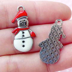 Colored Snow Man Charms Enamel Charm (2pcs / 13mm x 25mm / White & Red) Christmas Wine Glass Charm Zipper Pull Gift Favor Decoration CHM1613