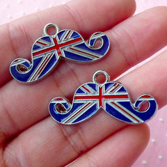 CLEARANCE British Mustache Charms England United Kingdom UK Flag Enamel Charm (2pcs / 32mm x 16mm) Gentleman Charm Pendant Keychain Bookmark CHM1615