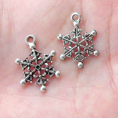 Small Snow Flakes Charm Drops (8pcs / 14mm x 20mm / Tibetan Silver) Christmas Party Decoration Gift Packaging Supplies Earrings CHM1649