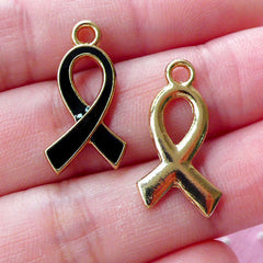 Black Ribbon Charm Awareness Enamel Charms (2pcs / 12mm x 21mm / Black & Gold) Remembrance Mourning Grief Death Funeral Key Chain CHM1656
