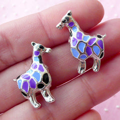 Colorful Giraffe Beads / Enamel Animal Bead (2pcs / 18mm x 23mm / Silver / 2 Sided) African Safari Zoo European Style Big Hole Bead CHM1652