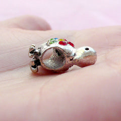 Rhinestone Bird Beads / Bling Bling Animal Bead (2pcs / 22mm x 15mm / Tibetan Silver / 2 Sided) European Style Large Hole Duck Bead CHM1653