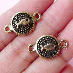 Cute Fish Tag Connector Charm (2pcs / 13mm x 21mm / Antique Gold) Kawaii Sea Life Jewelry Animal Link Charm Bracelet Bangle Pendant CHM1661