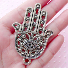 Large Hamsa Hand w/ Evil Eye Charm (1 piece / 42mm x 62mm / Tibetan Silver / 2 Sided) Khamsa Palm Big Pendant Judaica Keychain CHM1663