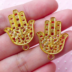 Gold Fatima Hand Charm Hamsa Charms Khamsa Charm (6pcs / 22mm x 29mm / Gold / 2 Sided) Religious Judaism Jewellery Mary Miriam Hand CHM1664