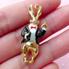 3D Bunny Hare Rabbit Gentleman in Suit Enamel Charm / Alice in Wonderland Charm (1 piece / 15mm x 37mm / Gold, Black, White & Red) CHM1667