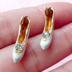Miniature High Heel Charm 3D Dollhouse Shoe Enamel Charm w/ Rhinestone (2pcs / 18mm x 13mm / Gold & White / 2 Sided) Purse Charm DIY CHM1677