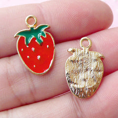Cute Strawberry Colored Charms / Fruit Enamel Charm (2pcs / 11mm x 18mm / Gold, Red & Green) Kawaii Charm Bracelet Keychain Charm CHM1688