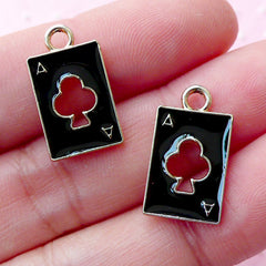 Ace of Club Enamel Charms / Poker Playing Card Charm (2pcs / 10mm x 18mm / Gold & Black) Alice in Wonderland Jewellery Earrings CHM1693