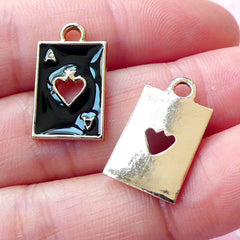 Poker Playing Card Charms / Ace of Spade Enamel Charm (2pcs / 11mm x 18mm / Gold & Black) Alice in Wonderland Zipper Pull Charm CHM1695