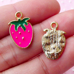 Kawaii Strawberry Enamel Charms / Colored Fruit Charm (2pcs / 11mm x 18mm / Gold, Pink & Green) Cute Charm Bracelet Zipper Pull CHM1682