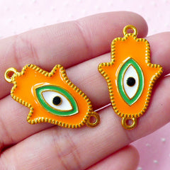 CLEARANCE Enameled Hamsa Hand with Evil Eye Connector Charms (2pcs / 20mm x 32mm / Gold, Orange & Green) Turkish Jewellery Nazar Stink Eye CHM1684