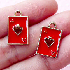 Ace of Spade Charms / Poker Playing Card Enamel Charm (2pcs / 11mm x 18mm / Gold & Red) Alice in Wonderland Jewelry Bracelet Pendant CHM1694