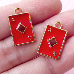 Playing Card Poker Enamel Charms / Ace of Diamond Charm (2pcs / 11mm x 18mm / Gold & Red) Alice in Wonderland Purse Charm Wine Charm CHM1696