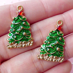 Enamel Christmas Tree Charm (2pcs / 16mm x 26mm / Gold & Green) Mini Christmas Ornament Party Decoration Favor Charm Wine Charm CHM1705