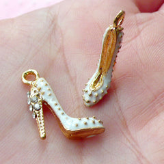 Super High Heel Enamel Charm 3D Dollhouse Shoe Charm w/ Bling Rhinestone (2pcs / 14mm x 17mm / Gold & White / 2 Sided) Lady Charm CHM1707
