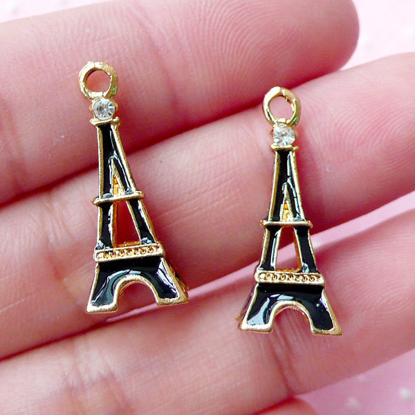 3D Eiffel Tower Enamel Charms w/ Clear Rhinestone (2pcs / 10m x 23mm / Gold and Black / 4 Sided) Paris Theme Jewelry Traveller Charm CHM1720