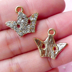 Bling Bling Crown Charms w/ Clear Rhinestones (2pcs / 18mm x 16mm / Gold) Princess Jewelry Bracelet Add a Charm Earrings Purse Charm CHM1724