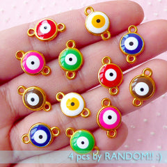 Enameled Evil Eye Connector Charms Colorful Charm (4pcs by RANODM / 9mm x 14mm / Gold with Enamel) Nazar Stink Eye To Mati Good Luck CHM1733