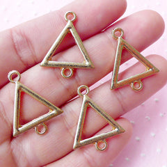 Triangle Connector Charms (4pcs / 19mm x 24mm / Gold) Geometric Jewelry Bracelet Link Charm Polygon Equilateral Triangle Shape Charm CHM1737