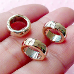 Gold Ring Beads (3pcs / 11mm x 4mm / Gold) Round Circle Shape Charm Spacer Slider Connector Link Bracelet Necklace Dreadlock Beads CHM1738