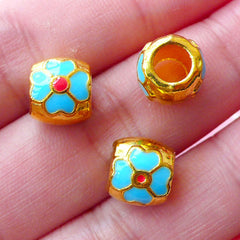Flower Enamel Round Beads (3pcs / 9mm x 8mm / Gold, Blue & Red) Big Hole Focal Bead Floral Slider Beads European Bracelet Necklace CHM1741