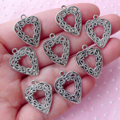 Filigree Heart Charms Heart Lace Charm (8pcs / 16mm x 21mm / Tibetan Silver / 2 Sided) Love Jewellery Valentines Wedding Favor Charm CHM1743
