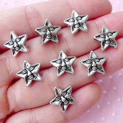 CLEARANCE Mini Star with Face Beads (8pcs / 12mm x 11mm / Tibetan Silver / 2 Sided) Sleep Night Sky Astronomy Stargazing Small Hole Loose Bead CHM1745