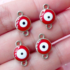 Red Evil Eye Connector Charms Enamel Charm (4pcs / 9mm x 14mm / Silver & Red) Nazar Stink Eye To Mati Lucky Spiritual Turkish Charm CHM1739