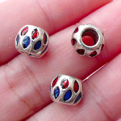 CLEARANCE Meenakari Enamel Round Beads (3pcs / 8mm x 7mm / Silver, Blue & Red) Large Hole Focal Bead Slider Focal Beads Bracelet Necklace Bead CHM1740