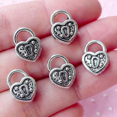 Love Lock Charms Heart Key Lock Beads (5pcs / 10mm x 14mm / Tibetan Silver / 2 Sided) Valentines Day Favor Charm Wedding Decoration CHM1753
