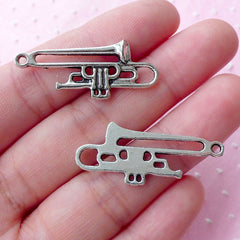 Silver Trumpet Charms (6pcs / 33mm x 14mm / Tibetan Silver) Music Instrument Jewelry Musician Pendant Necklace Earrings Keychain CHM1757